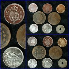 SET of 8 pre EURO coins from Spain 1870-1989 -Good grades. Only a few sets left!