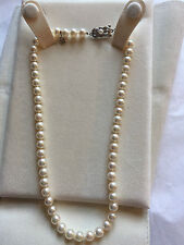 Mikimoto Pearl Necklace 7-6.5mm 18K White Gold Clasp 16""