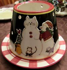 Deb Strain Cat & Snowman Christmas Holiday Candle Capper/Topper w/matching Plate