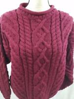 Lands End Womens M Burgundy Cable Knit Wool England Fisherman Chunky Sweater