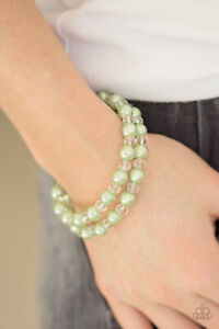 Paparazzi Bracelet - Jewelry - Modestly Modest Green Pearl Coil