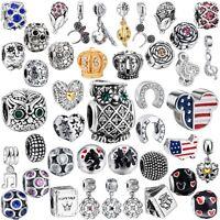 Fashion Fine Jewelry European Beads Charms Fit Women 925 Silver Bracelets Chain