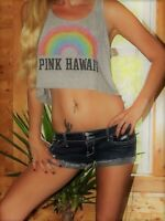 Victoria's Secret Pink crop top shirt rainbow Hawaii small gray pocket tank
