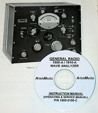GENERAL RADIO 1900-A 1910A WAVE ANALYZER Operating & Service (schematics) Manual