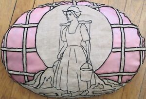 Art Deco 1930s Pillow w/Dutch Milk Maid & Pink Silk - SUPER - Hand-Made