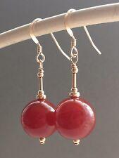 Vintage Beautiful Large Carnelian Gemstones 14ct Rolled Gold Drop Earrings