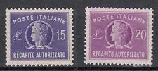 1949/52 Repubblica NUOVI Recapito  AUTORIZZATO15 e 20 lire centrati MNH** Extra