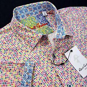 Robert Graham Geometric Colorful Grid Paisley Print Short Sleeve Sport Shirt