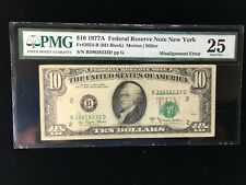 1977A $10 NEW YORK FEDERAL RESERVE NOTE PMG VERY FINE 25 MISALIGNMENT ERROR