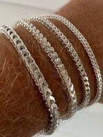 Real Solid 925 Sterling Silver Franco Bracelet 2.5-5mm ITALY MADE Men's Pulsera
