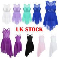 UK Girls Lyrical Praise Dance Dress Kids Ballet Leotard Tutu Modern Dancewear