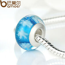 3pcs Xmas Luxury Blue Snow Glass Bead For S925 European Snake Bracelets Jewelry