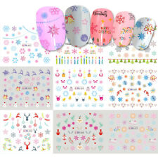 12Design In One Sheet Christmas Nail Art Water Transfer Sticker Snowflake Decals