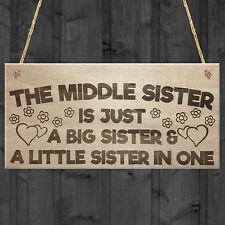 Red Ocean The Middle Sister Big & Little Hanging Wooden Plaque Love Sign Cute