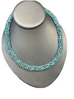 Vintage Boheniman Turquoise Green Seed Bead Wrapped Flex Wire Necklace