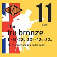 Rotosound TB11 Tru Broze Acoustic Guitar Strings Gauge 11-52  - Made in the UK