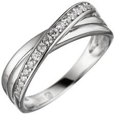 Ring Damenring mit Zirkonia weiß 925 Silber überkreuzt dreireihig Fingerring