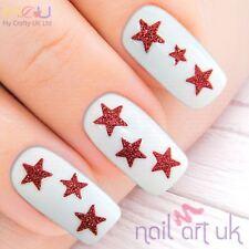 Red Glitter Star Nail Stickers, Calcomanías, Arte 01.02.031