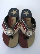 Montana West Womens Flip Flop Texas Flag Pride Lone Star Wedged Sandals Navy 8,9