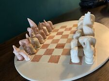 SOAPSTONE CHESS SET BOARD & PIECES Hand carved Circular Board Complete