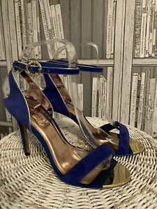 Ted Baker Size  4. Blue Suede Evening Sandals. Party. Heels. MR9224