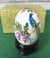 Vintage Oriental CHINESE HAND PAINTED SIGNED EGG, Blue Peacock, 1a