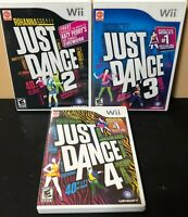 Wii Just Dance Game Bundle - Just Dance 2 3 4 - Complete -Tested - Free Shipping