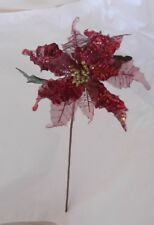 "BEAUTIFUL 25 1/2"" RED  GLITTER POINSETTIA~ XMAS FLOWER SPRAY"