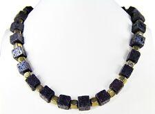 Außergewöhnliche Edelsteinkette aus Edelsteinen Lava und Pyrit in Würfelform