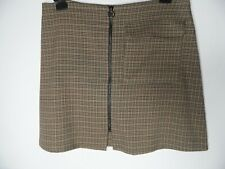TOPSHOP Mini Skirt Size 14 Tartan Check Zip Front Pocket Autumn Winter Mod 60s