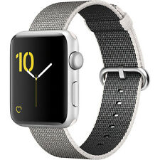 Apple Watch Series 2 42mm (Silver Aluminum Case, Pearl Woven Nylon Band)