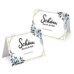 50x Design Tischkarten Hochzeit Geburtstag DIN A7 - Platzkarten zum Beschriften