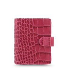Filofax Classic Croc Pocket Size Organizer/Planner Fuchsia Color Leather  026078