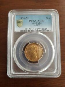 1876 M Full Gold Sovereign PCGS AU50 AUSTRALIA