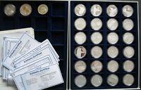 Münzen Silber, 1000 Jahre Leipzig 25 Stück, in Fächern