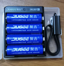 4pcs Jugee 1.5v 3000mWh rechargeable Lithium  lion AA battery +charger pk KENTLI