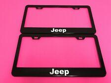 2x JEEP - BLACK Powder Coated Metal License Plate Frame Tag Holder w/Screw caps*