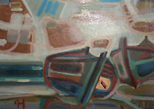 1988 Abstract oil collage painting boat signed