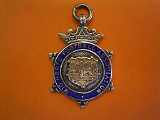 Sterling Silver And Enamel Football Fob Medal - Mid Herts Football Association