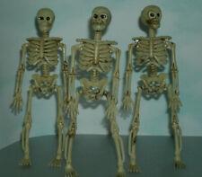 "Three 1/12 Scale Human Skeleton Figures Plastic Halloween Decor 6"" Skull & Bones"