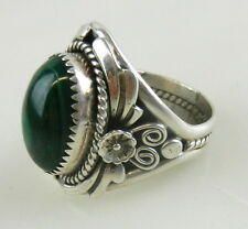 Sterling Silver .925 Mens GREEN TURQUOISE RING ~ Navajo Signed SC Sharon Cisco