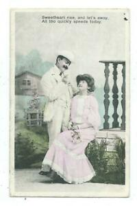 Sweetheart Rise & Let's Away Series G 381 Romance Love  Postcard c.1907