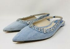 Christian Dior Women's Garlande Ballerinas Size 39 Denim Blue Retail $810