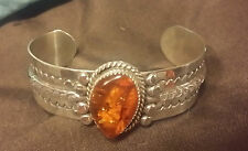 Authentic Navajo Signed DE Amber Bracelet Handcrafted Sterling