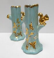 "Lot of 2 Blue and 22K Gold Holley Ross Squirrels in Tree Trunk Bud Vase 6"" Tall"