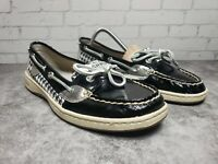 Sperry Top-Sider Angelfish Hounds Tooth Black Boat Shoes Ladies Size 8m
