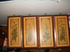 Mid Century decoupage flower wall decor set of 4 Bernard picture co cornwall woo