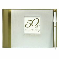 C.R. Gibson Guest Book with Pen Golden 50th Anniversary