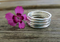 Set of Five Sterling Silver 1.5mm Smooth Stacking Rings