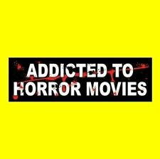 """ADDICTED TO HORROR MOVIES"" Michael Myers Freddy Krueger STICKER prop Halloween"